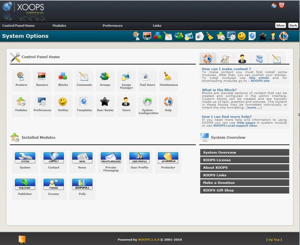 Xoops CMS Admin Demo