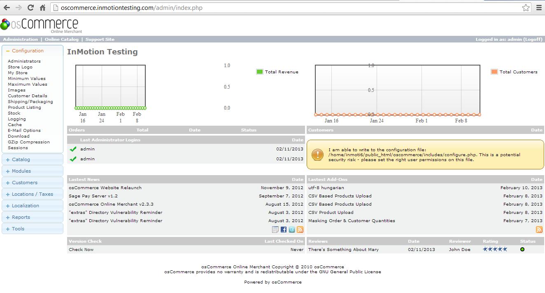OsCommerce Admin Demo