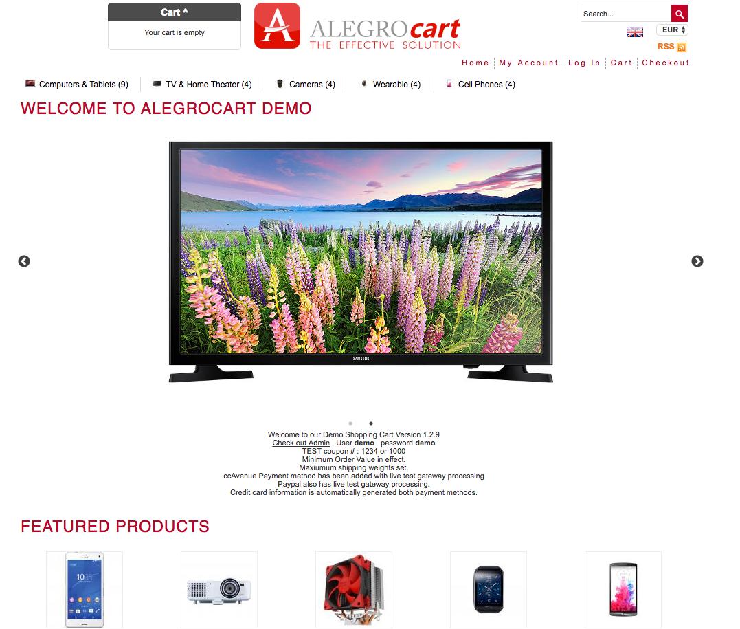 alegrocart demo preview
