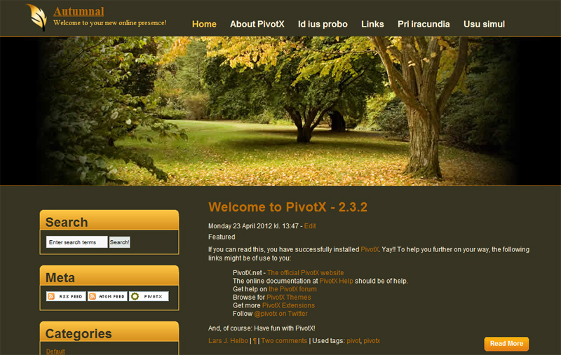 PivotX CMS Demo Site - Theme Preview