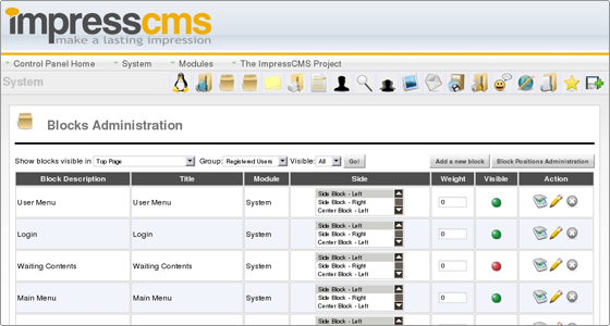 ImpressCMS Admin Features