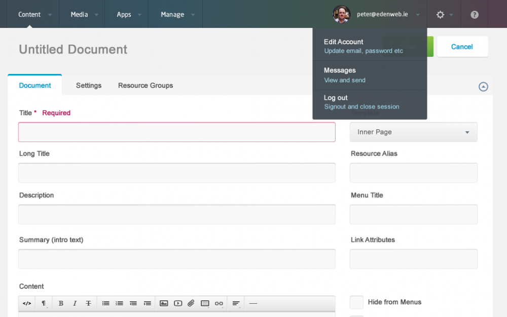MODx Admin Interface Example