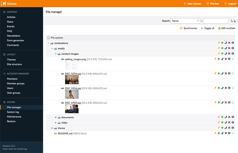 Contao CMS backend file manager