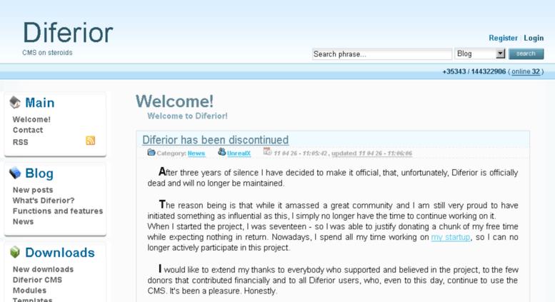 Diferior CMS Website
