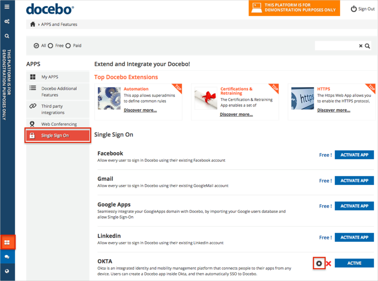Docebo Single Sign On Feature