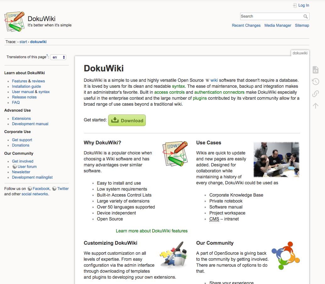 DokuWiki Demo Site » Try DokuWiki without installing it