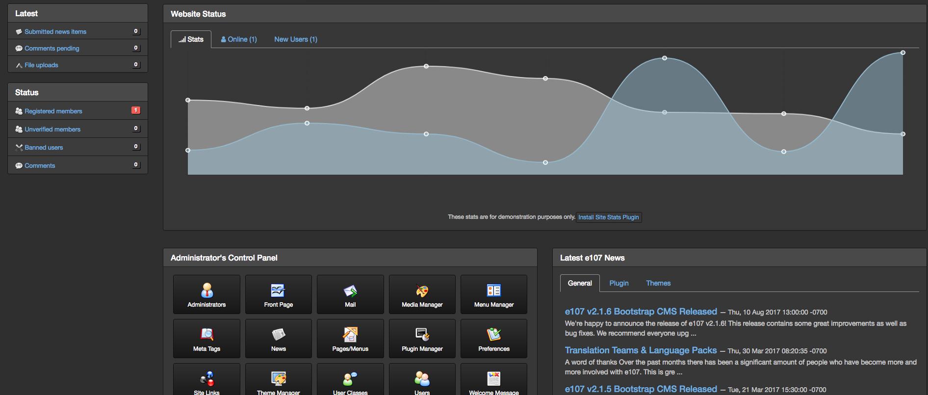 e107 Bootstrap demo preview