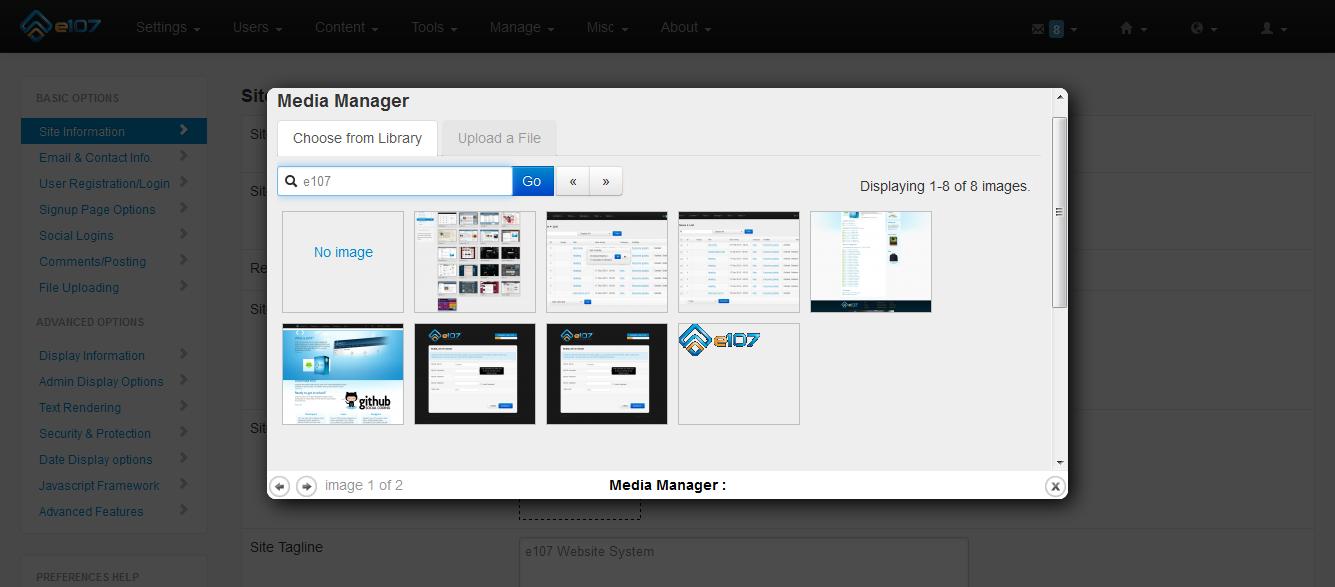 E107 Bootstrap CMS Admin Dashboard - Media Manager