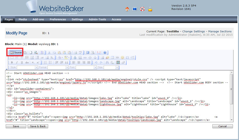 Website Baker CMS Editor Preview