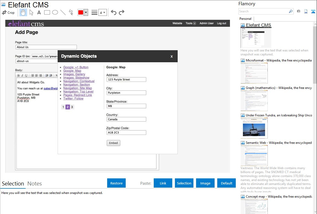 Elefant CMS Backend Features