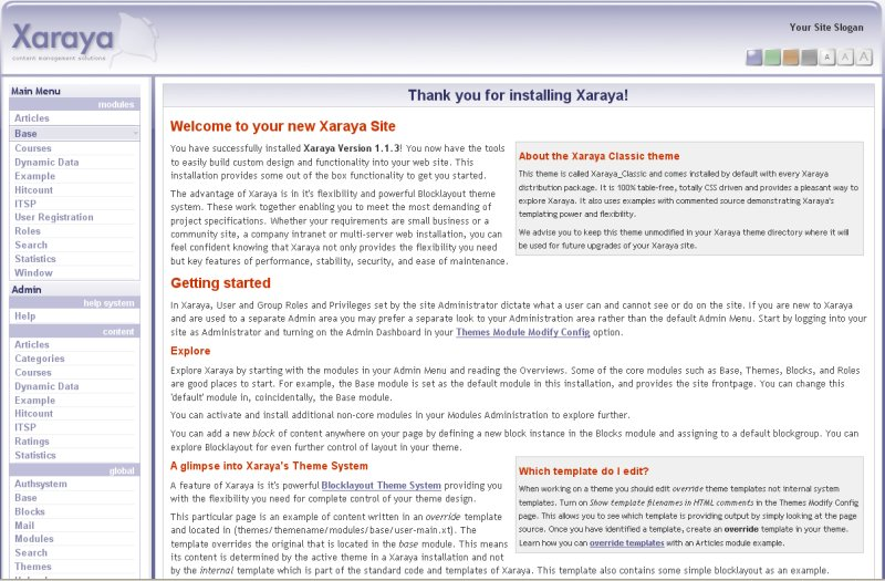 Xaraya CMS Admin Preview