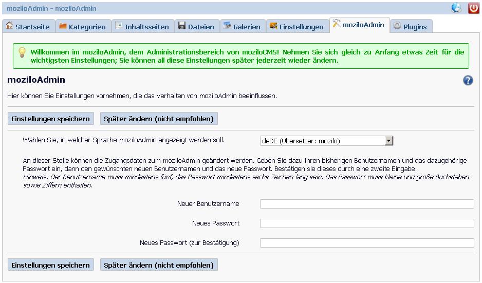 MoziloCMS Admin Demo