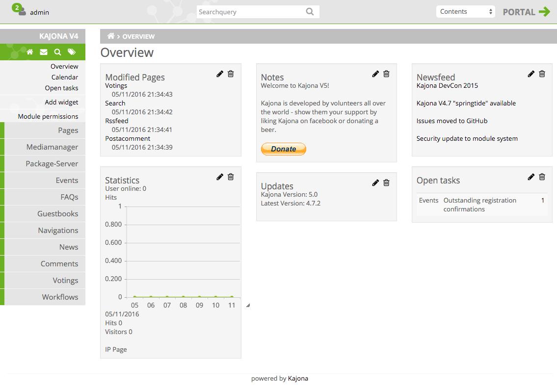 Kajona CMS Admin Interface