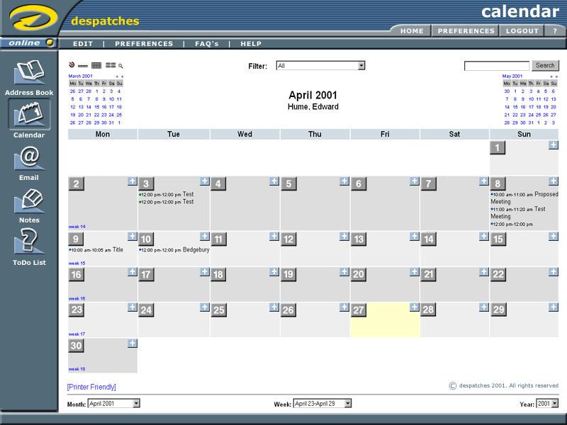 phpGroupWare Admin Demo - Calendar