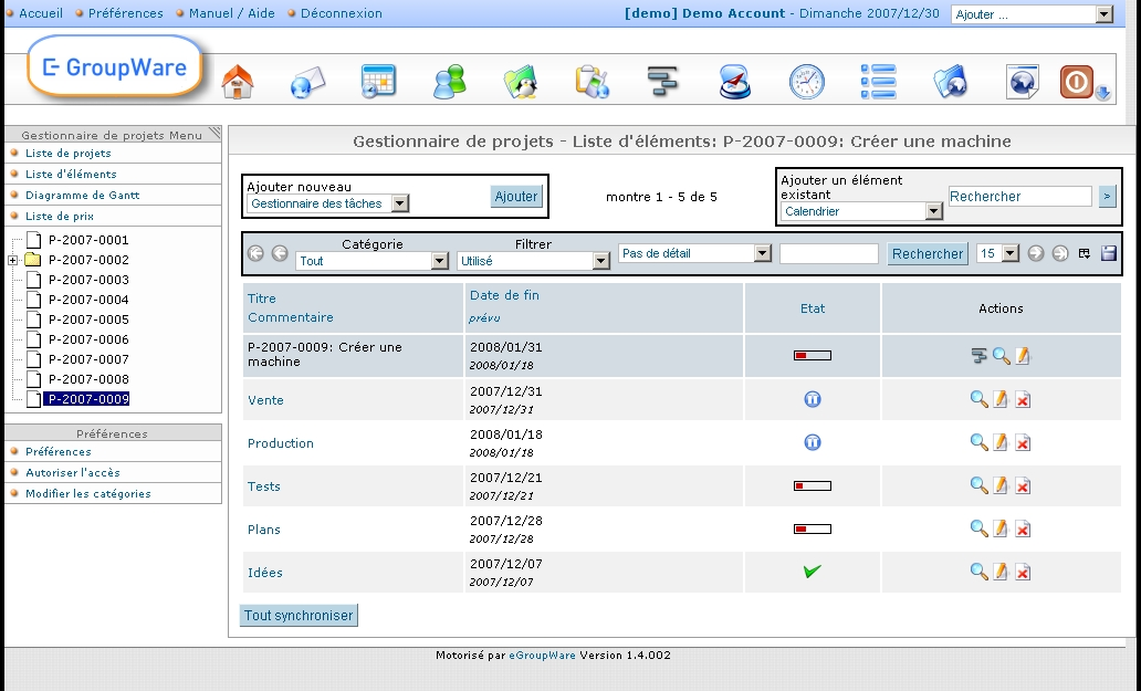 EGroupware Features - Projects Management