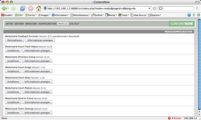 contentNow Admin Modules