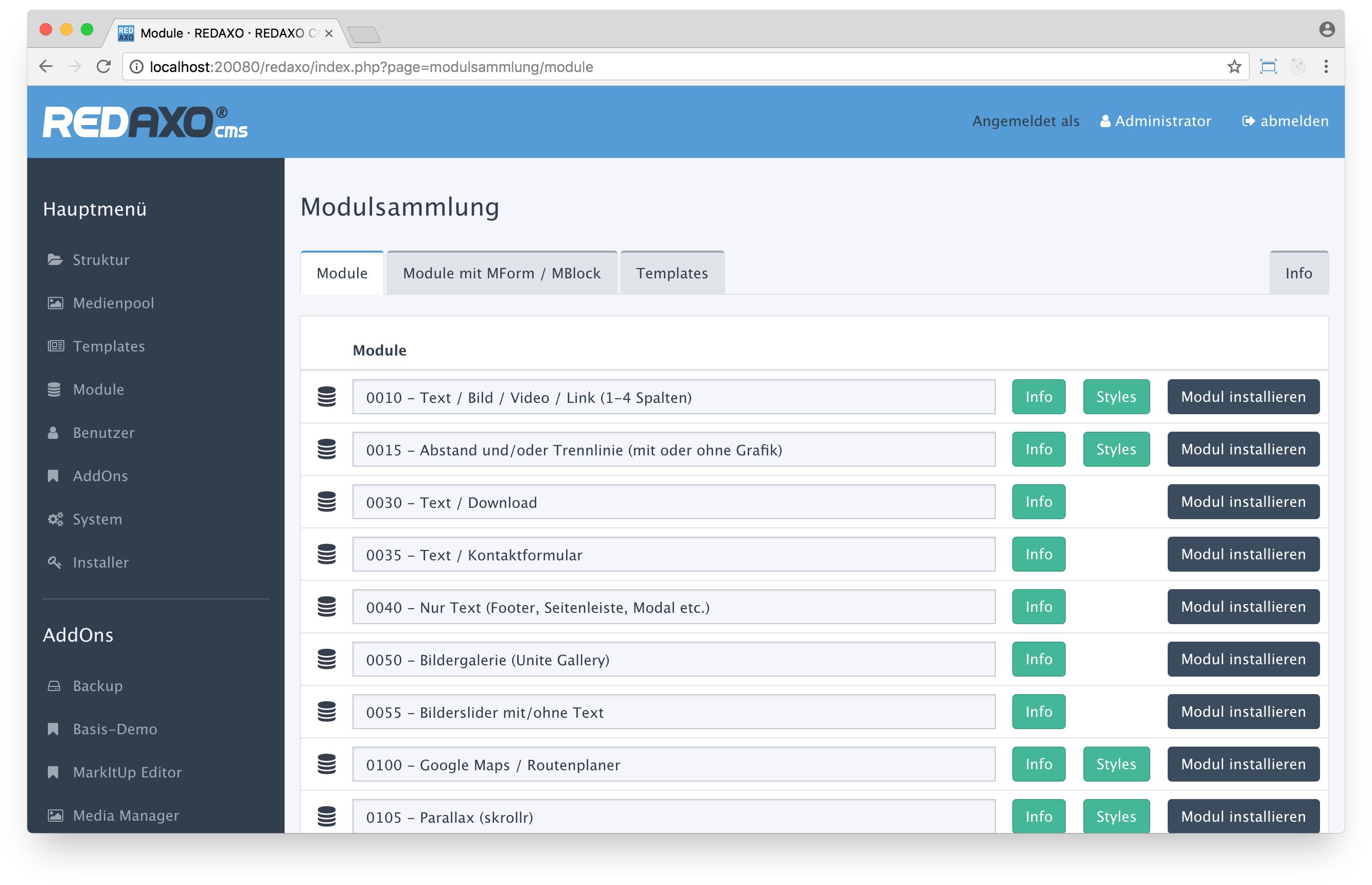 Redaxo CMS Admin Demo - Modules Management