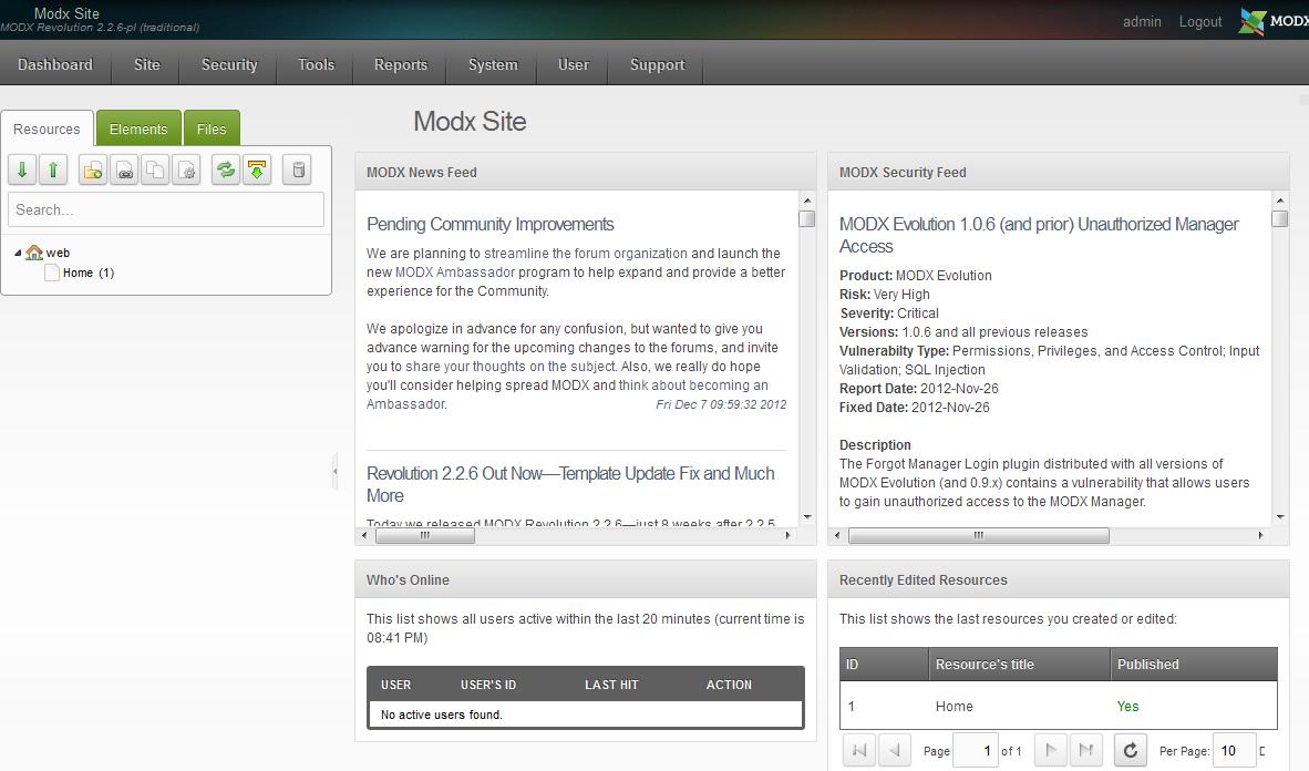 MODx Admin Demo