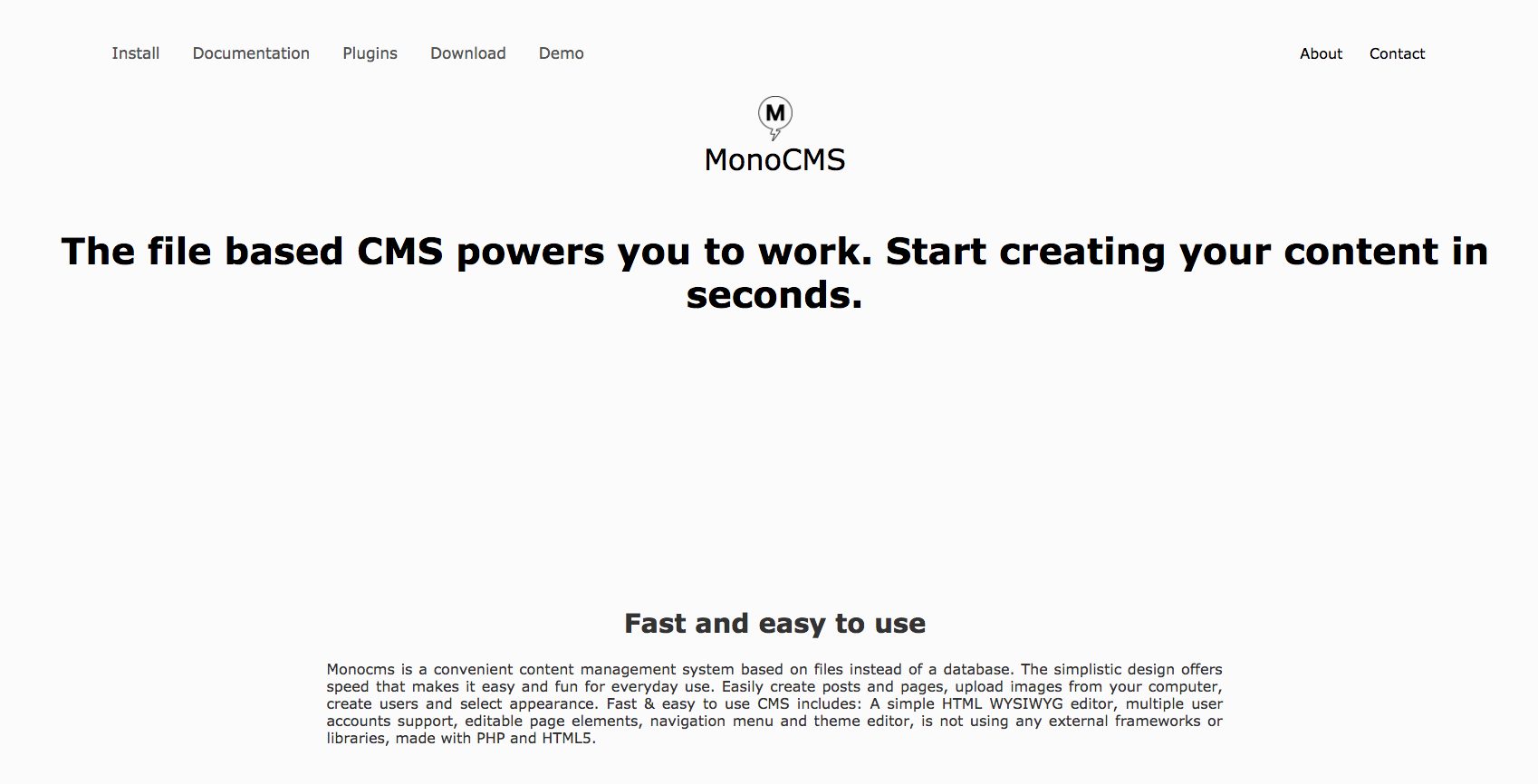 monocms demo preview