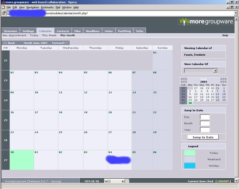 MoreGroupWare Calendar View