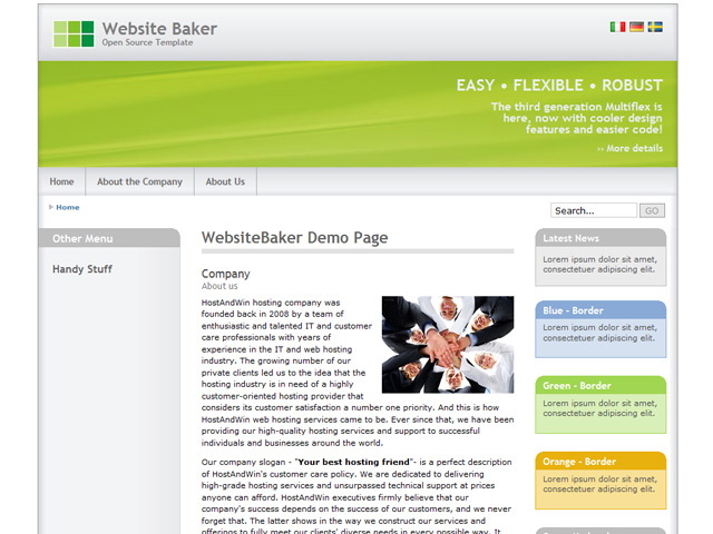 Website Baker CMS Theme Example