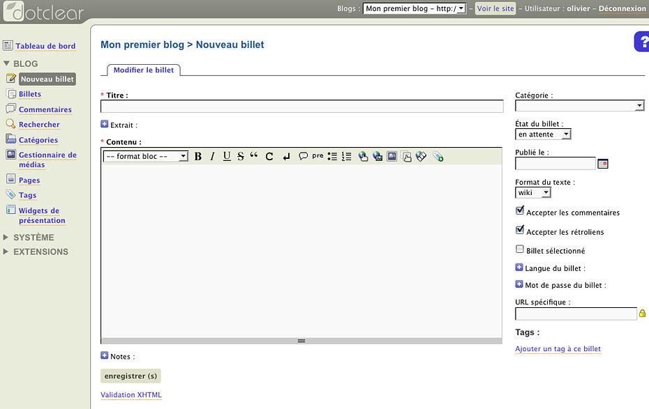Dotclear Admin Demo Add New Blog Post