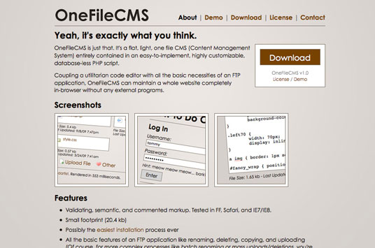 OneFileCMS Demo Site