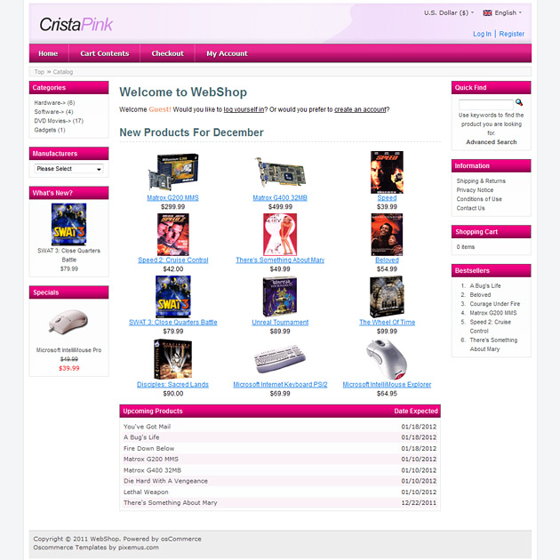 OsCommerce Free Theme Example