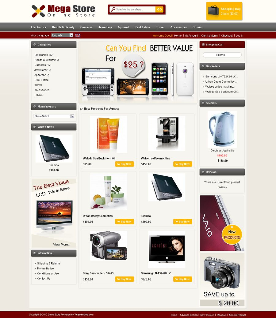 OsCommerce Theme Preview