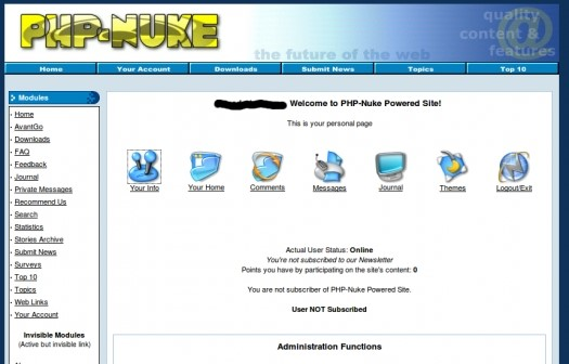 Php Nuke CMS Demo - Administration Interface