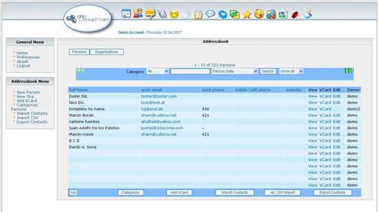 phpGroupWare Admin Demo