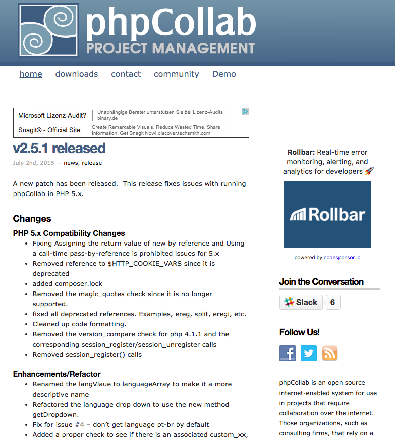 phpcollab demo preview
