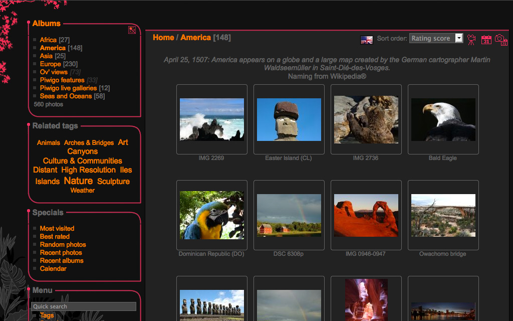 Piwigo gallery theme example 2
