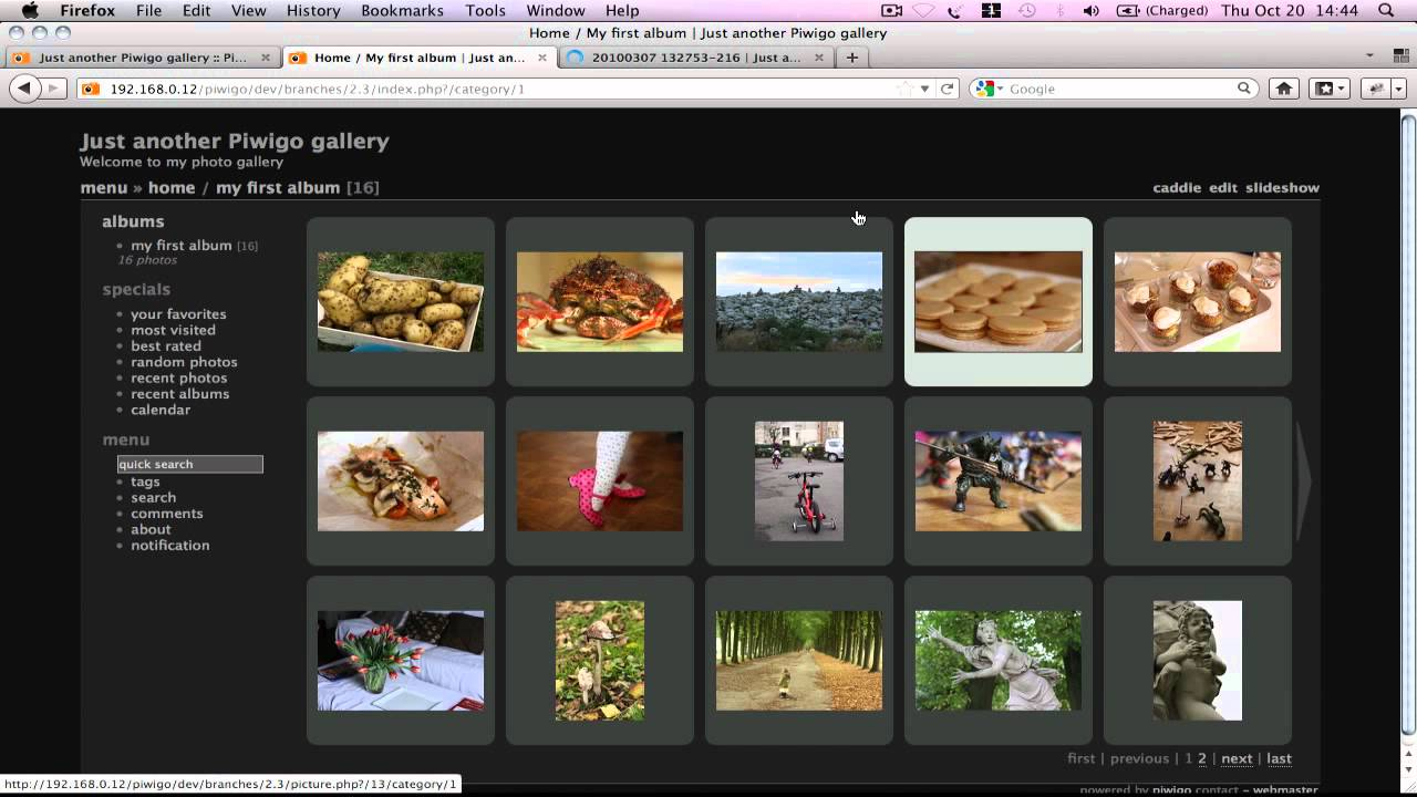 Piwigo gallery theme example 3