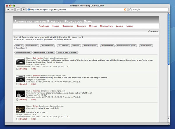 pixelpost demo preview