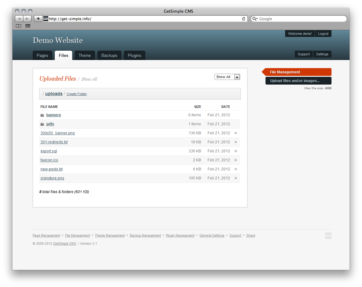 GetSimple CMS Admin Demo - File Manager