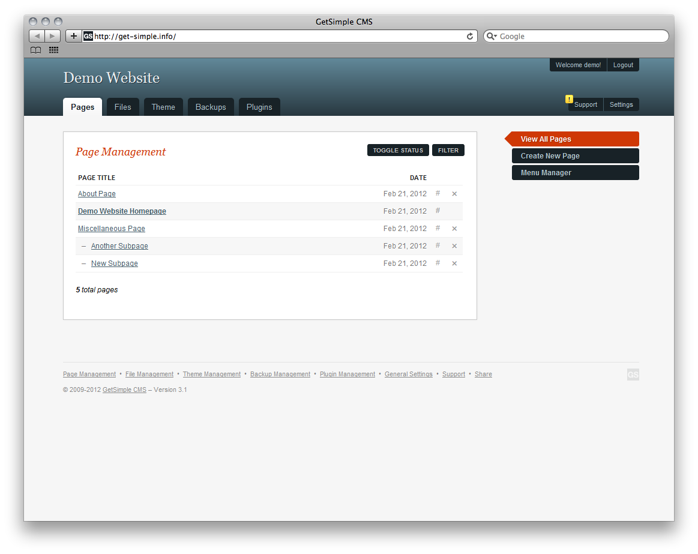 GetSimple CMS Admin Demo