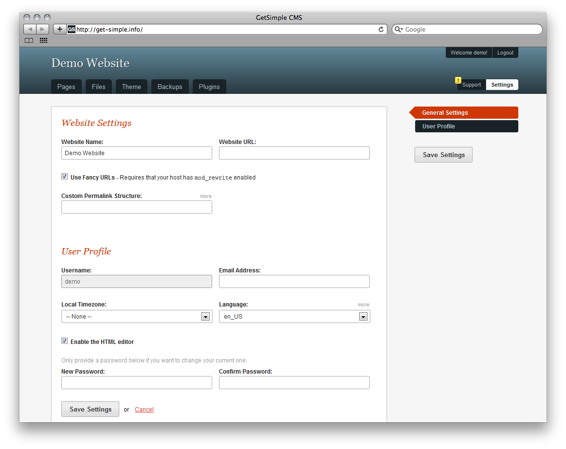 GetSimple CMS Admin Demo - Settings
