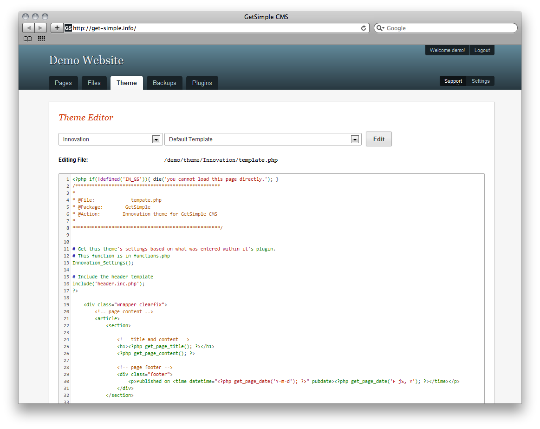 GetSimple CMS Admin Demo - Theme Editor
