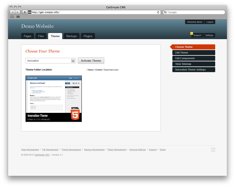 GetSimple CMS Admin Demo - Theme Management