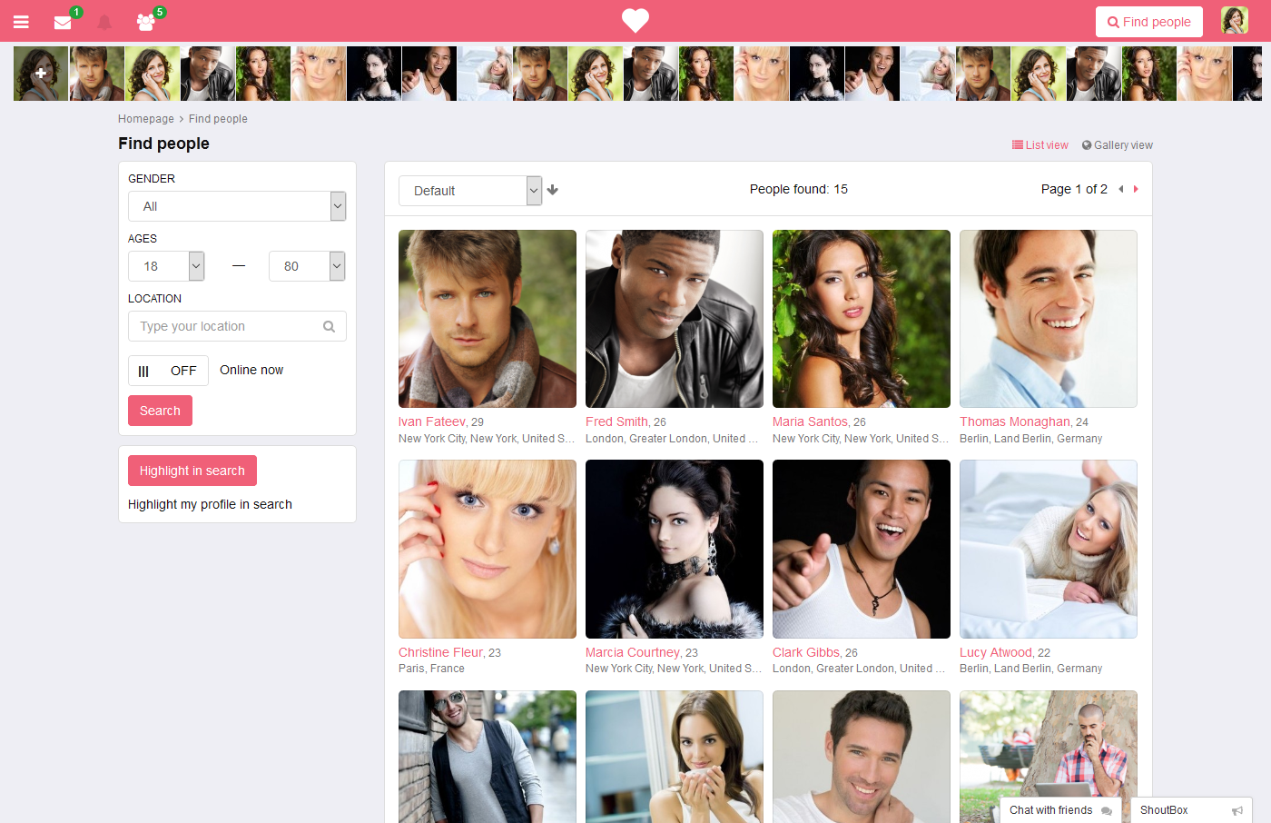 Pg Dating Pro Online Demo - Search Users