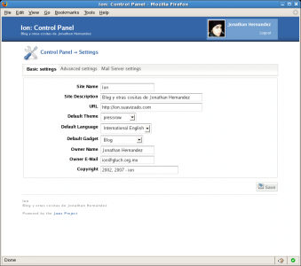 Jaws CMS Admin Features - Settings