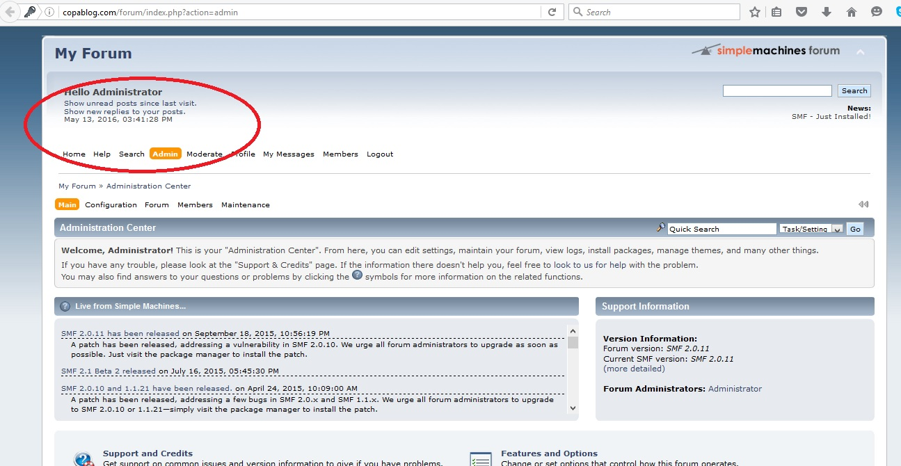 Simple Machines Forums Admin Preview