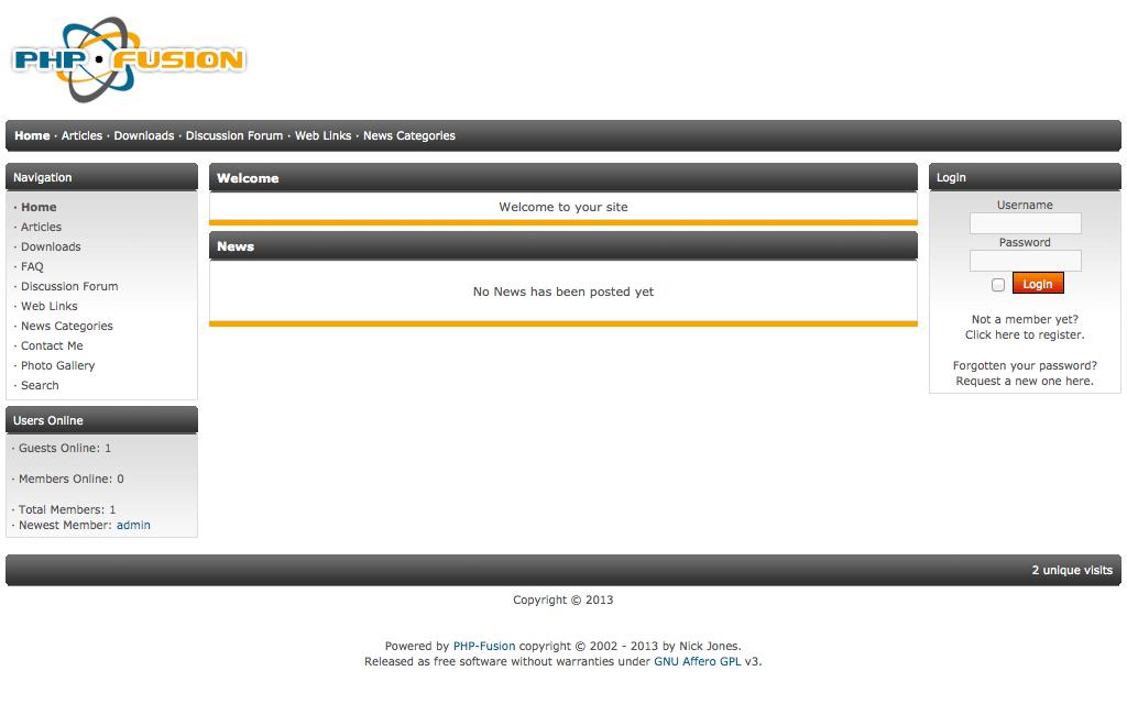 PHP Fusion Admin Demo