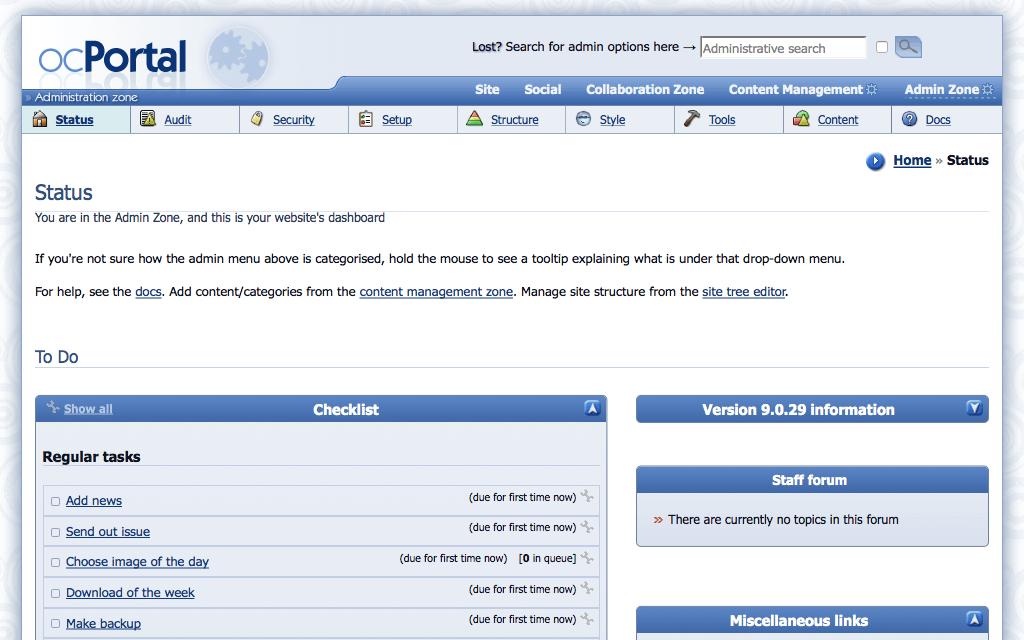 ocPortal Admin Dashboard