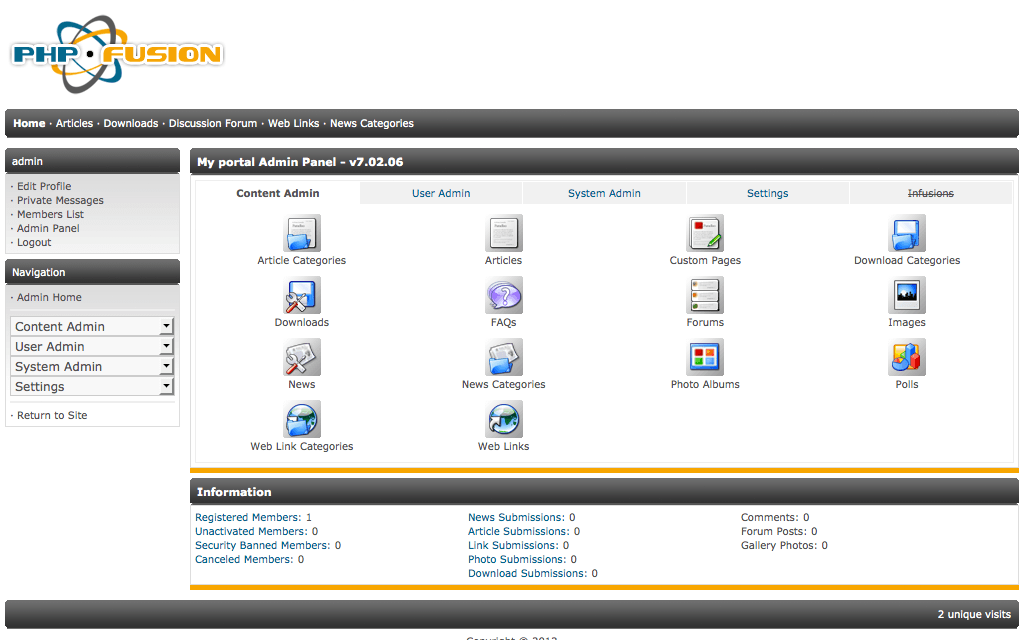PHP Fusion Admin Dashboard Features