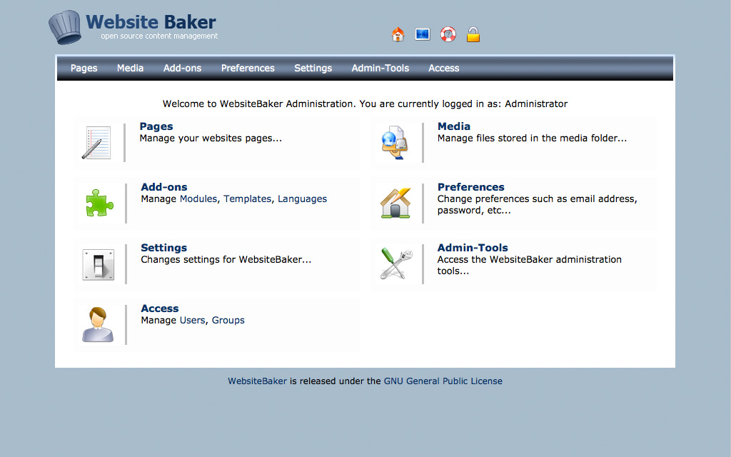 Website Baker CMS Admin Demo