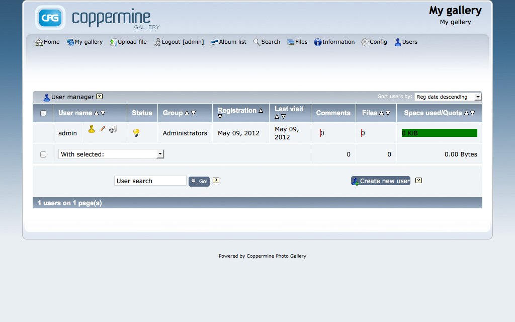 Coppermine Admin Demo - User Manager