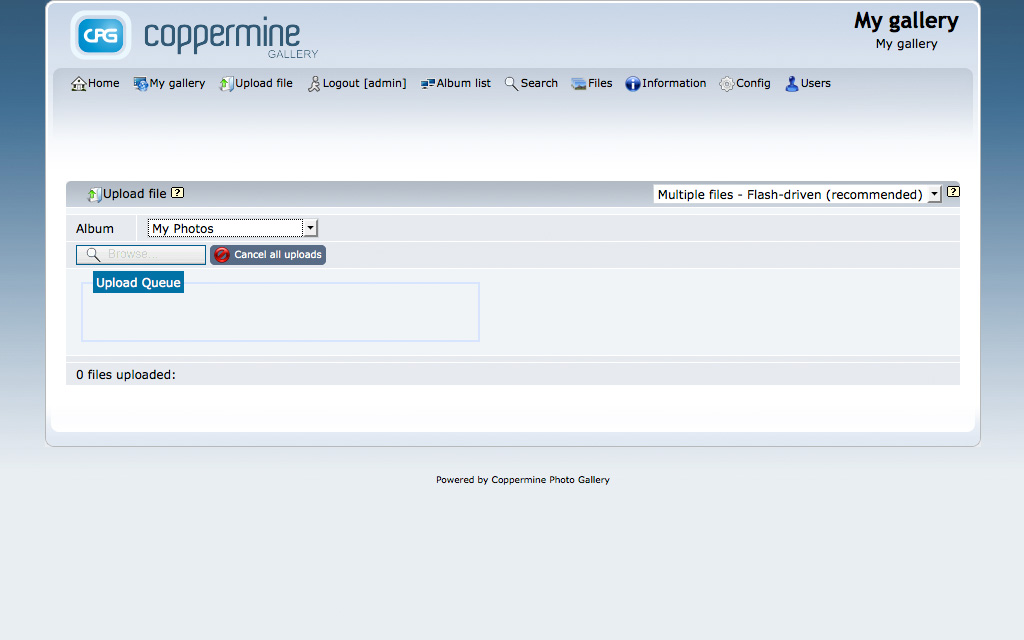 Coppermine Admin Demo - Upload Picture