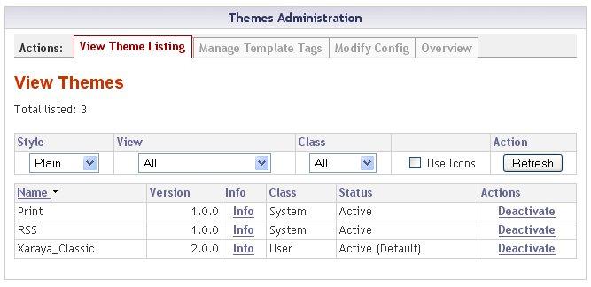 Xaraya CMS Themes Adminsitration
